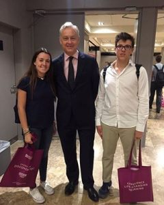 Simon Manley, UK ambassador in Spain with two Hastings School pupils