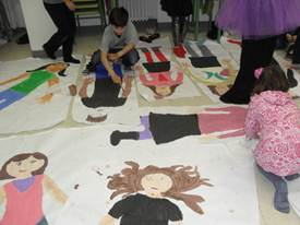 In Year 5 they made life-size self-portraits to display their poems about their 'UNSTOPPABLE ME' selves